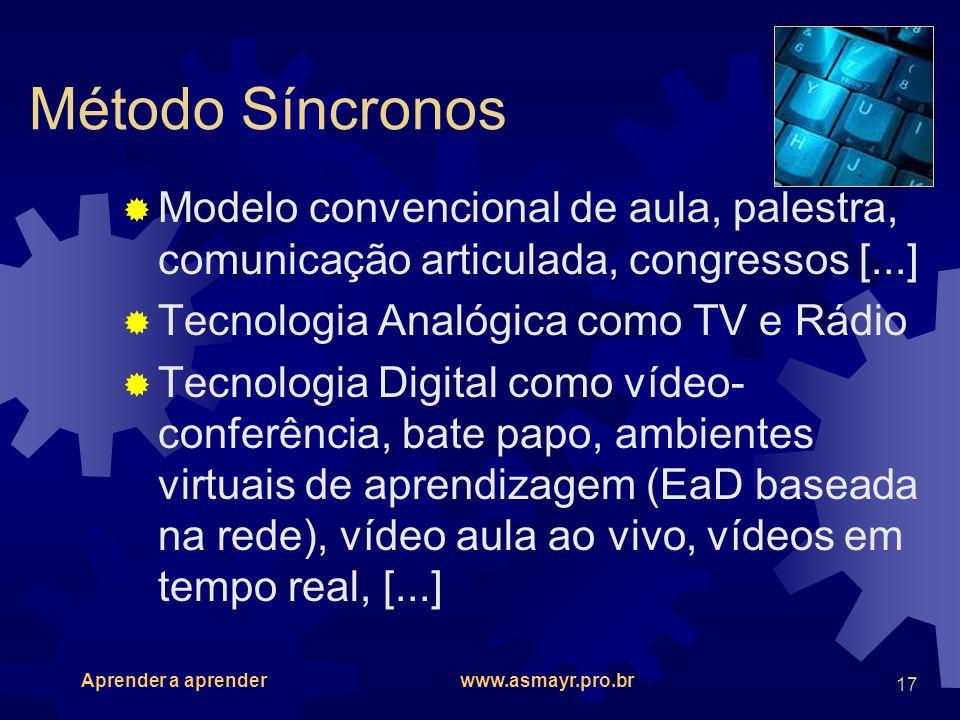Método Síncronos Modelo convencional de aula, palestra, comunicação articulada, congressos [...] Tecnologia Analógica como TV e Rádio.